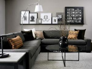 muebles negros con gris